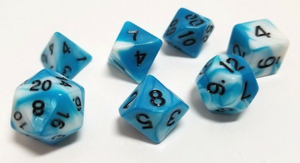 Blue White Marble Dice Set