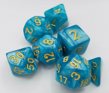 Load image into Gallery viewer, Lake Blue Pearl Dice Set