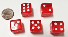 Load image into Gallery viewer, Red Transparent (B Grade) 16mm 6 Sided Dice (Set of 5)