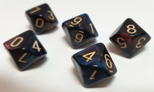 Load image into Gallery viewer, Dark Red Blue Marble D10 Dice (Set of 5)