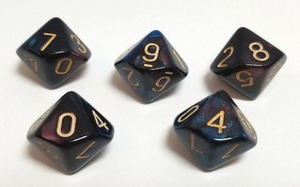 Dark Red Blue Marble D10 Dice (Set of 5)