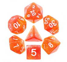 Load image into Gallery viewer, Yellow Red Galaxy Dice Set