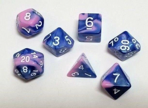 Blue Pink Marble 7 Piece Dice Set