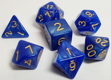 Load image into Gallery viewer, Sapphire Blue Gold Pearl Dice Set