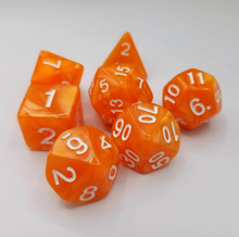 Load image into Gallery viewer, Orange Pearl Dice Set