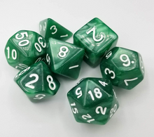 Load image into Gallery viewer, Green Pearl Dice Set