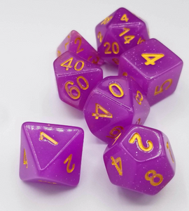 Purple Glitter Dice Set