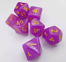 Load image into Gallery viewer, Purple Glitter Dice Set