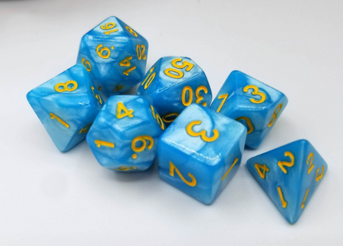 Light Blue Pearl Dice Set