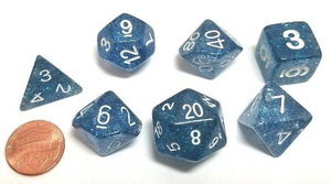 Dark Blue Glitter Dice Set