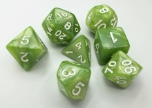 Load image into Gallery viewer, Pale Green Pearl Dice Set