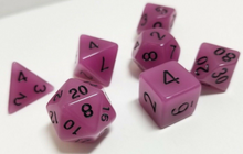 Load image into Gallery viewer, Purple Glow in the Dark Dice Set