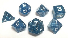 Load image into Gallery viewer, Dark Blue Glitter Dice Set