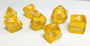 Yellow Transparent Dice Set