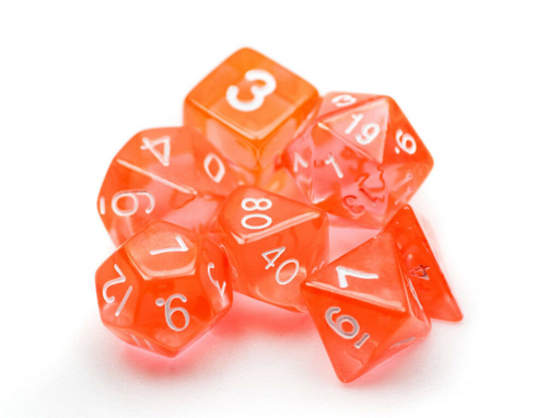 Transparent Orange Dice Set