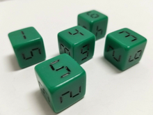 Load image into Gallery viewer, Green Digital 6 Sided Dice (Set of 5)