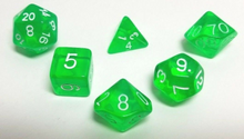 Load image into Gallery viewer, Green Transparent Dice Set