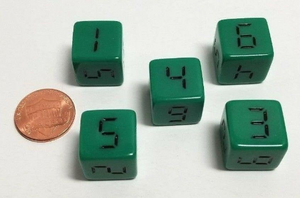 Green Digital 6 Sided Dice (Set of 5)