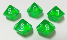 Load image into Gallery viewer, Green Transparent D10 Dice (Set of 5)