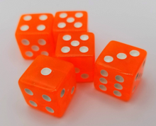 Load image into Gallery viewer, Orange Transparent (B Grade) 16mm 6 Sided Dice (Set of 5)