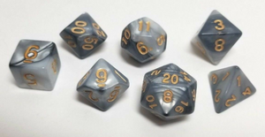 Black White Marble Dice Set
