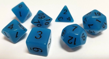 Load image into Gallery viewer, Blue Glow in the Dark Dice Set