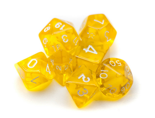 Transparent Yellow Dice Set