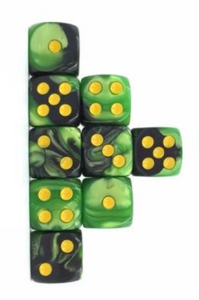 Green Black Marble, 12mm 6 Sided Dice (Set of 5)