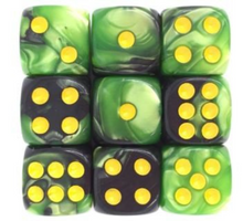 Load image into Gallery viewer, Green Black Marble, 12mm 6 Sided Dice (Set of 5)