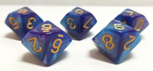 Load image into Gallery viewer, Blue Purple Marble D10 Dice (Set of 5)