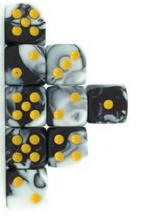 Load image into Gallery viewer, White Black Marble, 12mm 6 Sided Dice (Set of 5)