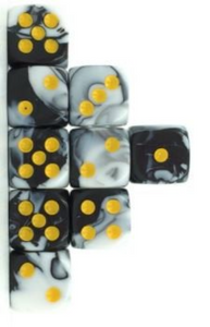 White Black Marble, 12mm 6 Sided Dice (Set of 5)
