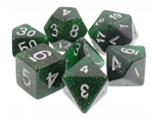 Load image into Gallery viewer, Dark Green Glitter Dice Set
