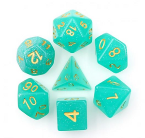 Green/Teal Glitter Dice Set