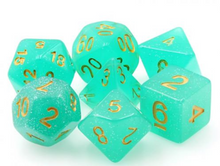 Load image into Gallery viewer, Green/Teal Glitter Dice Set