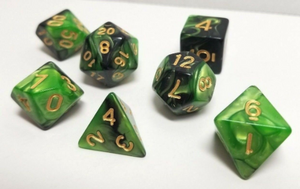 Green Black Marble Dice Set