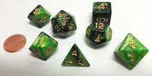 Load image into Gallery viewer, Green Black Marble Dice Set