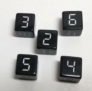 Black Digital 6 Sided Dice (Set of 5)