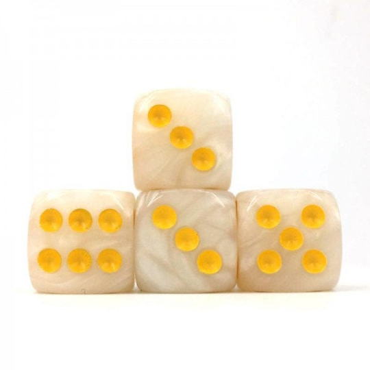 White Pearl, 16mm 6 Sided Dice (Set of 5)