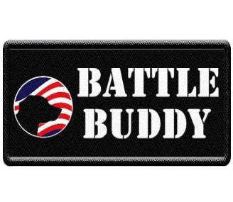 """Battle Buddy"" Patch with American Flag Crest."