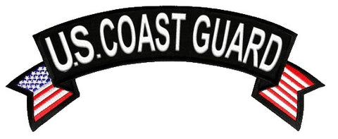 """U.S. Coast Guard""   Rocket Patch with American Flag."