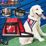 Reflective Service Dog Vest, Zipper Pocket & ID Badge Holder with Black & White Patch