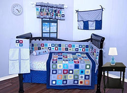 MULTI COLORS SQUARE BABY CRIB BEDDING SET