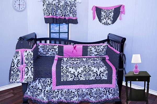 PINK BLACK DAMASK BABY CRIB BEDDING SET