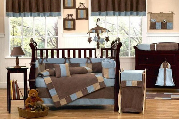 MICRO FIBER BLUE BROWN BABY BOY CRIB BEDDING SET