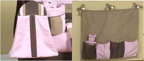 MICRO FIBER PINK BROWN BABY GIRL CRIB BEDDING SET