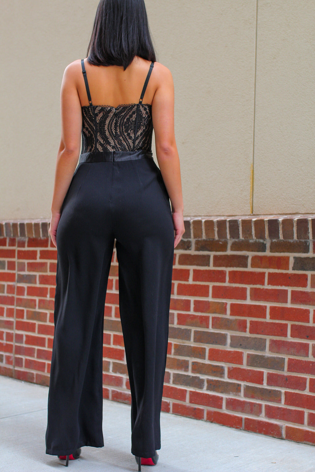 Black Lace Corset Bodice Jumpsuit