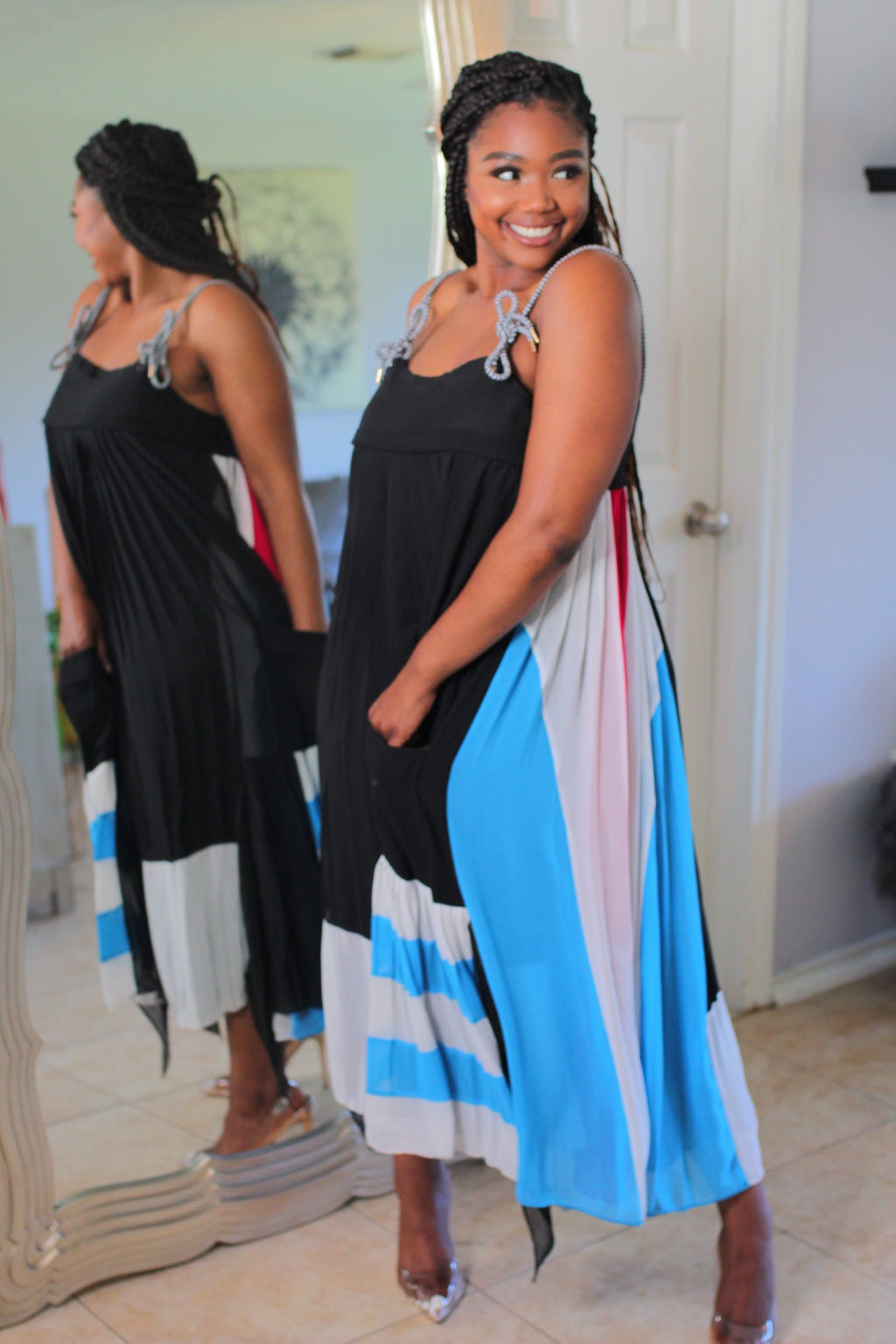 Color Block Maxi Dress - ZT CURVE