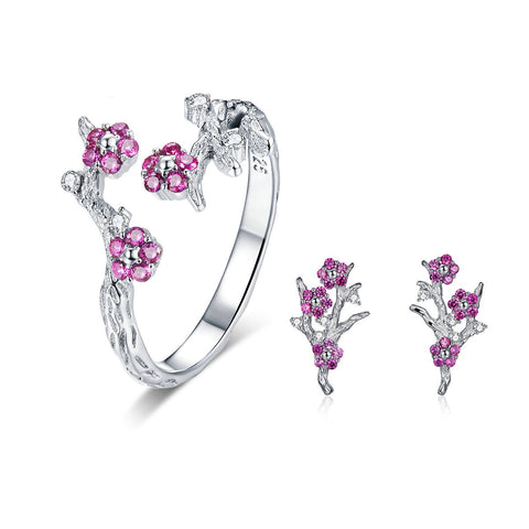 emannashop.com - 925 Sterling Silver Cherry Flower Jewelry Set