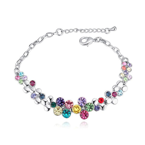 emannashop.com - Spring Flower Chain Bracelet With Czech Crystals (5 Variants)